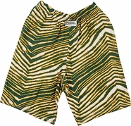 Zubaz Shorts: Green/Gold Zubaz Zebra Shorts