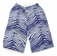 Zubaz Shorts: Navy Blue/White Zubaz Zebra Shorts