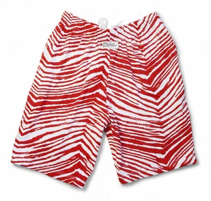 Red white striped workout shorts