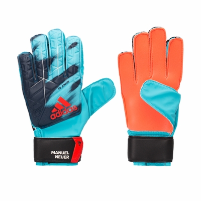 adidas ACE Junior Soccer Gloves - Light Blue/Orange - Click to enlarge