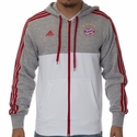adidas FC Bayern Munich 3 Stripe Zip Hoody - Grey/White