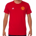 adidas Manchester United 3 Stripe Tee - Power Red