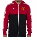 adidas Manchester United 3 Stripe Zip Hoody - Red/Black