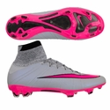Nike Mercurial Superfly FG Soccer Cleats - Wolf Grey/Hyper Pink