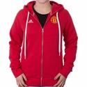 Women's adidas Manchester United 3 Stripe Zip Hoody - Power Red