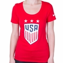 Women's Nike USA 3-Star Crest Tee - University Red