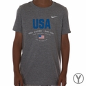 Youth Nike USA Verbiage Tee - DK Grey Heather