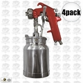 Astro Pneumatic 4008 4pk Spray Gun with Cup - Red Handle 1.8mm Nozzle