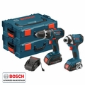 Bosch CLPK234-181L 18V Lithium-Ion Compact 2-Tool + TWO L-Boxx-2's Kit