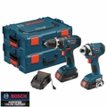 Bosch Tools CLPK234-181L 18V Lithium-Ion Compact 2-Tool + TWO L-Boxx-2's Kit