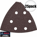Bosch Tools SDTR042 25pk 40 Gr Triangle Hook & Loop Sanding Sheets for Wood