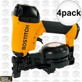 "Bostitch RN46-1 4pk 3/4"" to 1-3/4"" 15 Deg. Coil Roofing Nailer"
