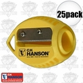 C. H. Hanson 00202 25pk VersaSharp Carpenter Pencil Sharpeners Flat or Round
