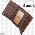 Carhartt 61-2200-20 4pk Men's Trifold Brown Leather Wallet