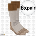 Carhartt A66 6pk Cold Weather Boot Socks Brown X-Large
