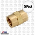 "Coilhose K0404-DL 5pk 1/4"" x 1/4"" FPT Hex Coupling"