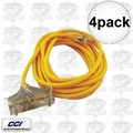 Coleman Cable 03487 4pk 25' 12/3 Wire 3-Way Extension Cord