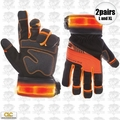 Custom Leathercraft L145 1pr L & 1pr XL Viz Pro Illuminated Work Gloves