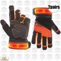 Custom Leathercraft L145 2pr Safety Viz Pro Illuminated Work Gloves X-Large