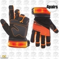 Custom Leathercraft L145 4pr Safety Viz Pro Illuminated Work Gloves Large
