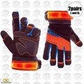 Custom Leathercraft L173 1pr L & 1pr XL Winter Viz Pro Illuminated Gloves
