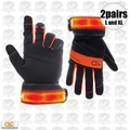 Custom Leathercraft L205 1pr L + 1pr XL Safety Viz Illuminated Work Gloves