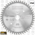 "DeWalt DW5258 5pk 6-1/2"" x 48 Tooth Blade for Cordled Tracksaw"