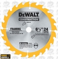 "DeWalt DW9154 6-1/2"" x 24 Tooth ATB/AFB Carbide Circular Saw Blade"
