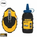 DeWalt DWHT47143 2pk 100' Chalk Reel PLUS Blue Chalk