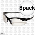 Edge Eyewear DZ111-1.5G2 8pk Black Clear Lens Zorge Safety Glasses 1.5x Mag