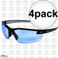 Edge Eyewear DZ113G2 4pk Zorge Safety Glasses - Black with Light Blue Lens