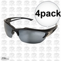 Edge Eyewear SDK117 4pk Khor Safety Glasses Black with Silver Mirror Lens