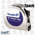 "Empire 612 2pk 5/8"" x 12' Chrome Tape Measure"