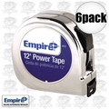 "Empire 612 6pk 5/8"" x 12' Chrome Tape Measure"