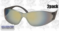 ERB 15406 2pk Boas Brown Silver Mirror Lens Safety Glasses