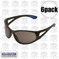 ERB 16671 6pk Erban Black Safety Glasses - Smoke Lens