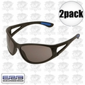 ERB 16671 2 Pair Safety Glasses Erban Black - Smoke Lens