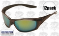 ERB 17912 12pk 8200 Brown/Gold Mirror Lens Safety Glasses