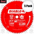 "Freud D0760A 5pk 7-1/4""x60T Diablo Ultra Fine Finishing Saw Blade"