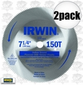 Irwin 11440 2pk 7-1/4x150t Hollow Ground Plywood Circular Saw Blade