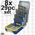Irwin 3018002B 8x 29 Piece Drill Bit Industrial Set-Cobalt M42