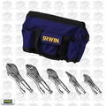 Irwin Vise Grip 2077704 5 pc Locking Plier Set w/ Nylon Tool Bag