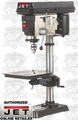 "JET 354165 3/4 HP, 1 PH, 115/230 V 15"" Bench Mount Drill Press"