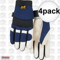 Majestic 2152TW 4pk Grain Pigskin Thinsulate Work Gloves Large