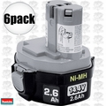 Makita 193158-3 6pk 14.4 Volt 2.6 Ah Ni-MH MForce # 1434 Battery Pack