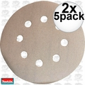 "Makita 794521-9 2x 5pk 5"" x 180 Grit 8 Hole Hook & Loop Abrasive Discs"