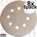 "Makita 794521-9 8x 5pk 5"" x 180 Grit 8 Hole Hook & Loop Abrasive Discs"