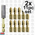 Makita B-35112 2x 11pc Impact GOLD Torsion Magnetic Insert Bit Set