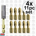 Makita B-35112 4x 11pc Impact GOLD Torsion Magnetic Insert Bit Set