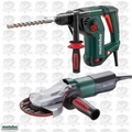 Metabo KHE3250 1-1/4'' Electric SDS Rotary Hammer + Flat Head Grinder Kit